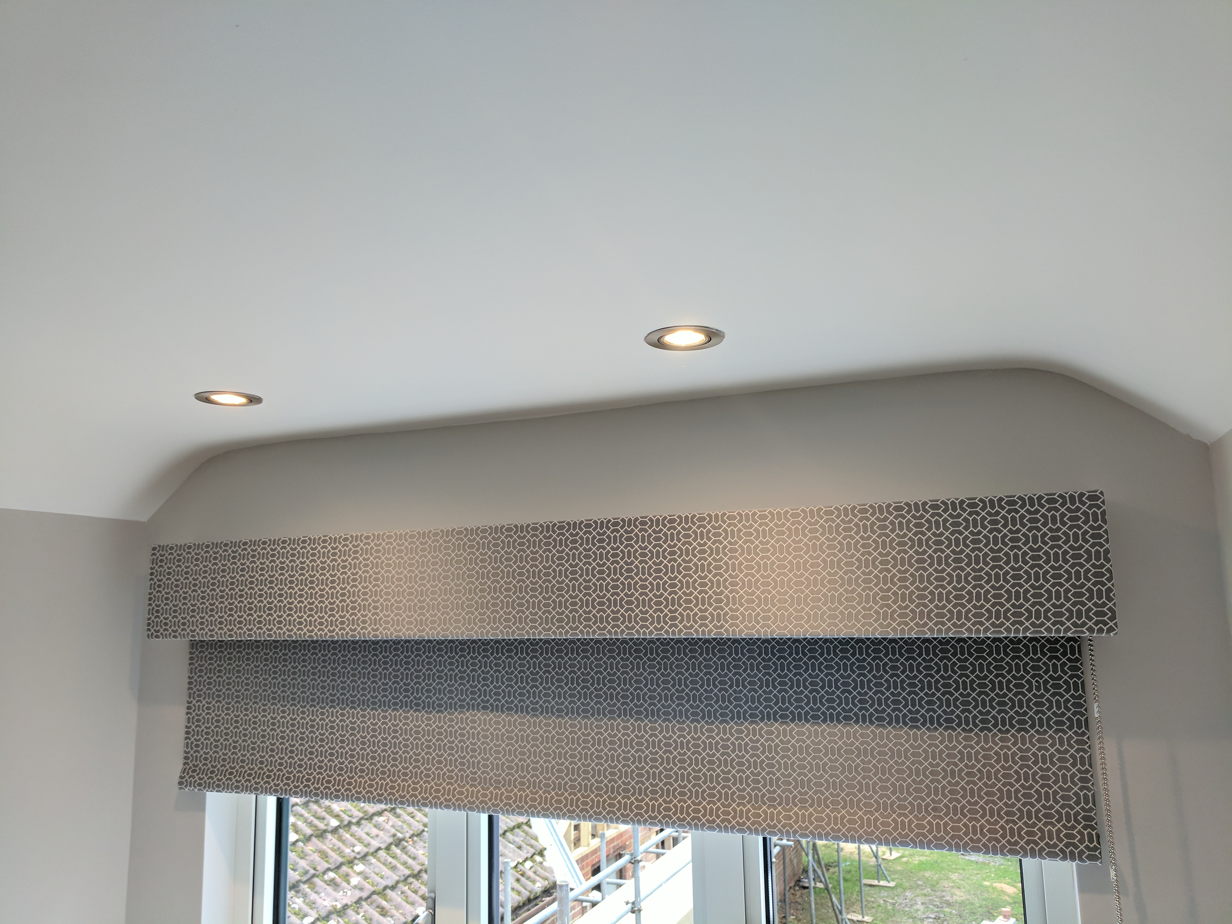 Grey Geometric Roller Blind And Fabric Covered Mdf Pelmet